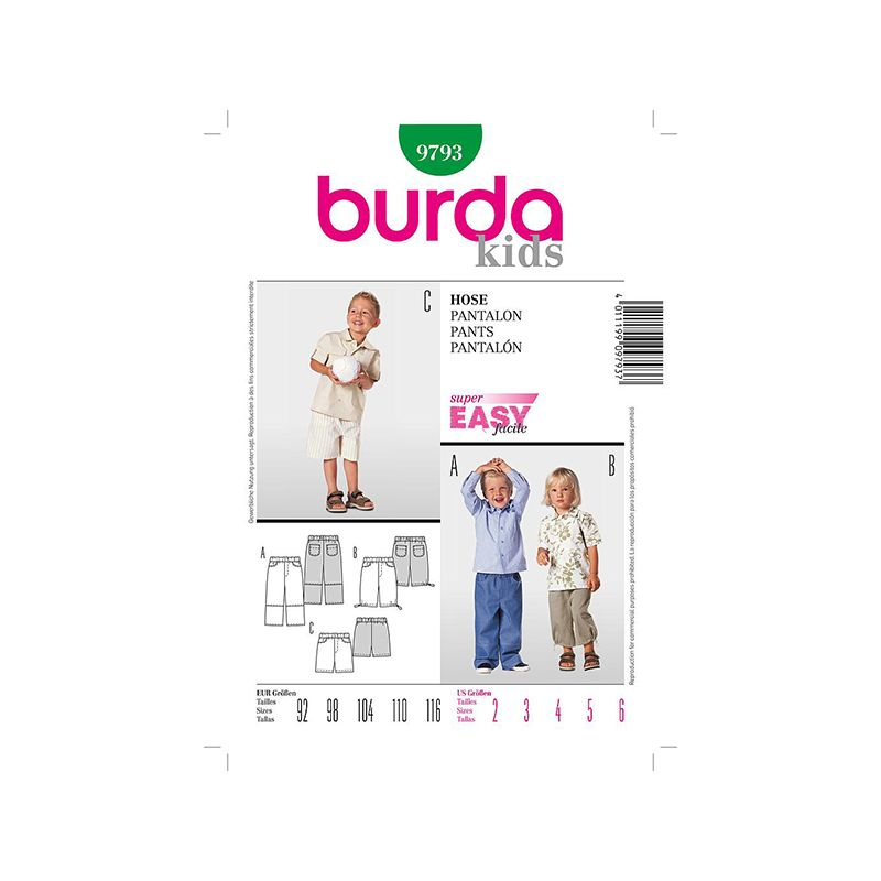 Patron Burda Kids 9793 Pantalon 92/116