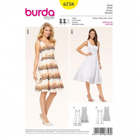 Patron Burda Style 6758 Robe 34/44