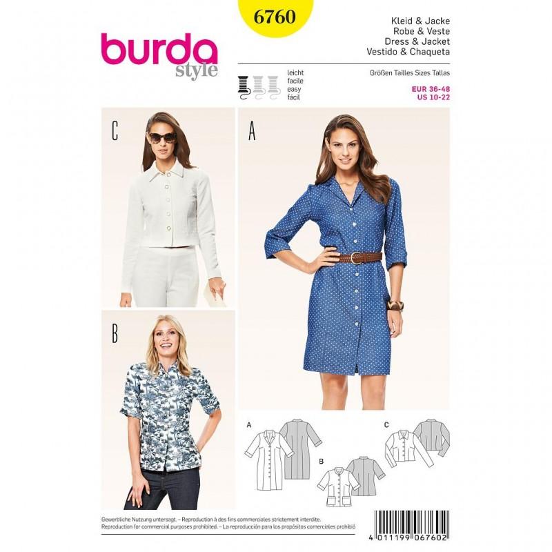 Patron Burda Style 6760 Robe et Veste 36/48