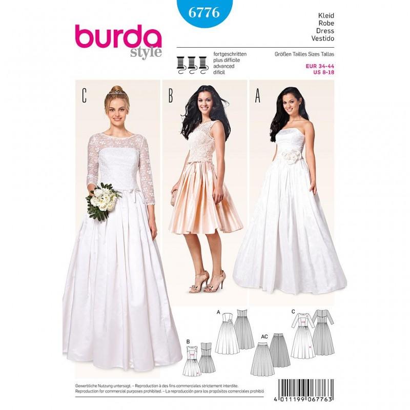Patron Burda Style 6776 Robe de Mariée et Robe de Soirée 34/44