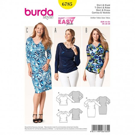 Patron Burda Style 6785 T-Shirt et Robe 44/54