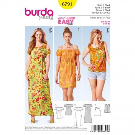 Patron Burda Style 6791 Robe et T-Shirt 32/44