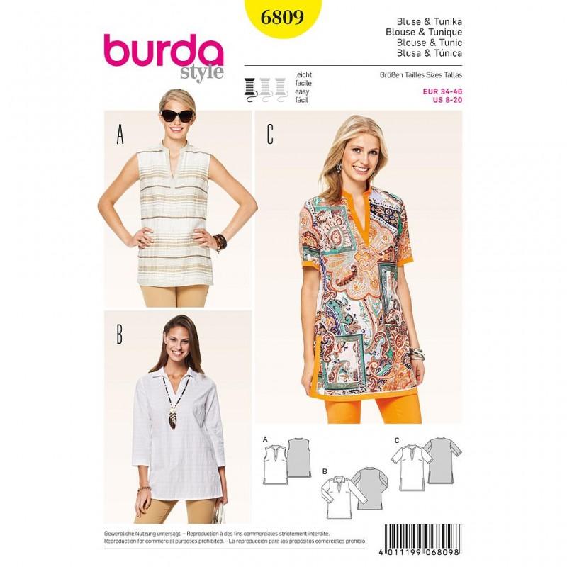 Patron Burda Style 6809 Blouse et Tunique 34/46
