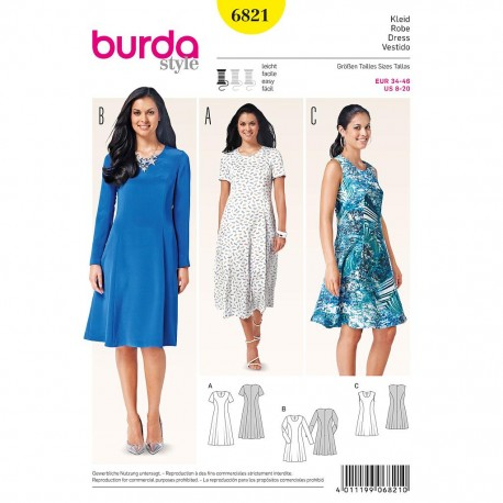 Patron Burda Style 6821 Robe 34/46
