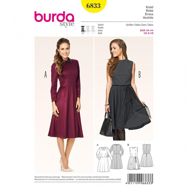 Patron Burda Style 6833 Robe 34/44