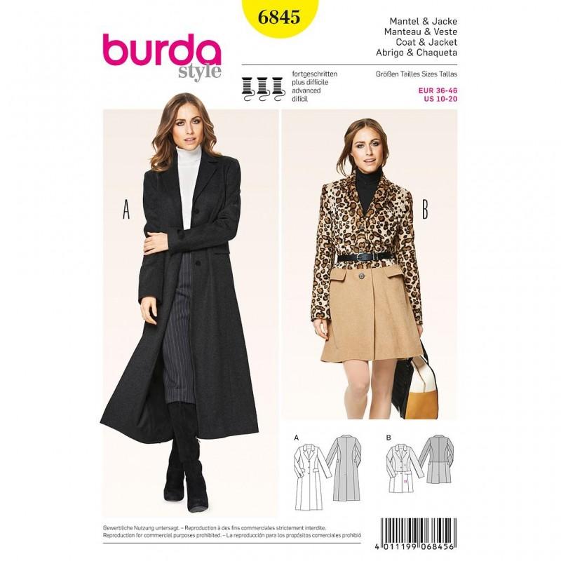 b5c4566d0 Patron Burda Style 6845 Manteau et Veste 36/46 - Tissus des Ursules