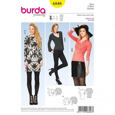 Patron Burda Style 6848 Tshirt 34/46