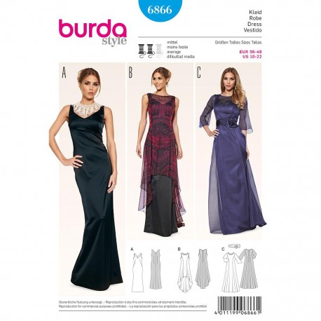 Patron Burda Style 6866 Robe de Soirée 36/48
