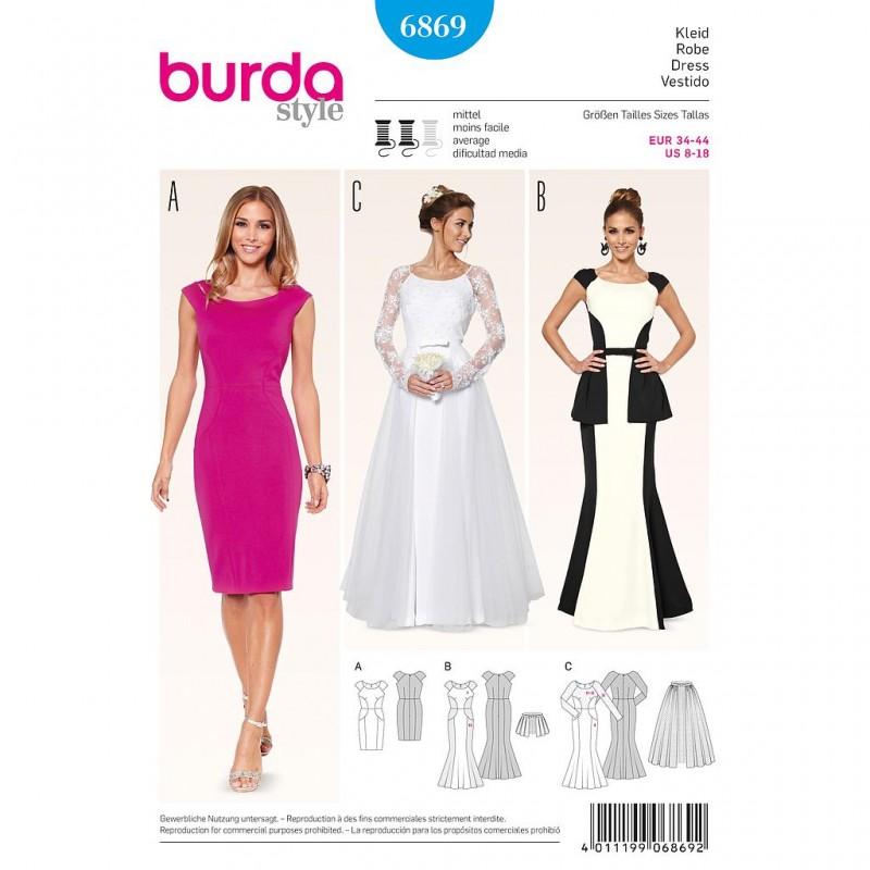 Patron Burda Style 6869 Robe de Soirée et de Mariée 34/44