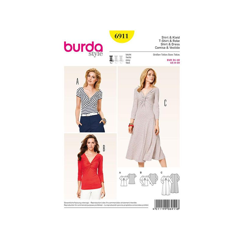 Patron Burda Style 6911 Tshirt et Robe 34/46