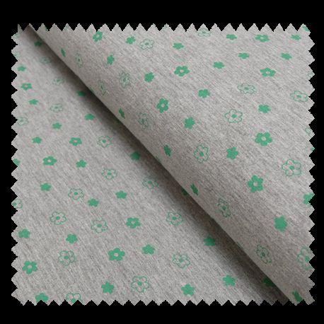 Tissu Jersey Fleurs Vertes