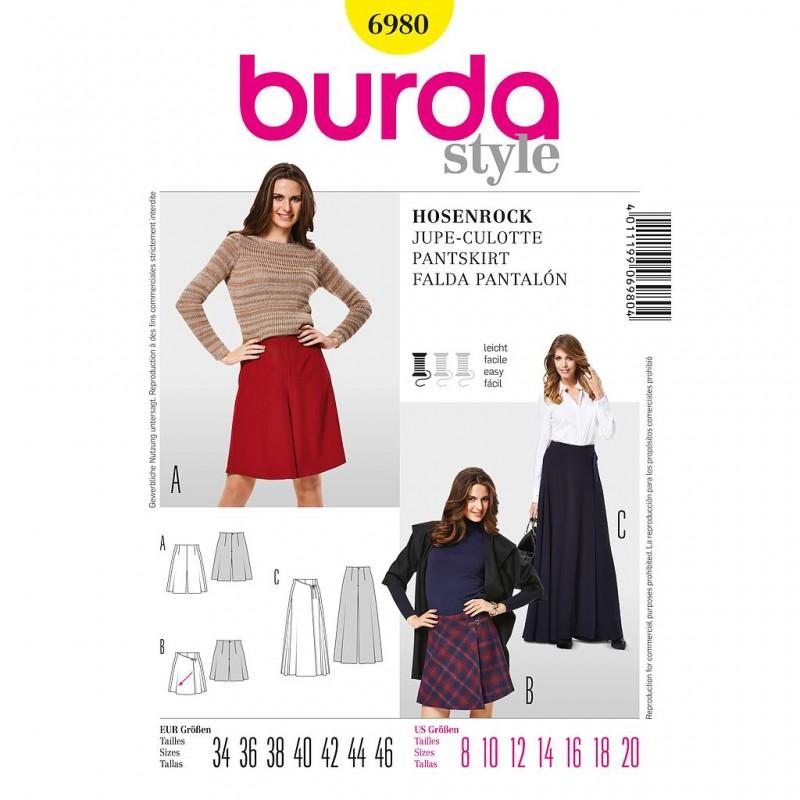 Patron Burda Style 6980 Jupe Culotte 34/46