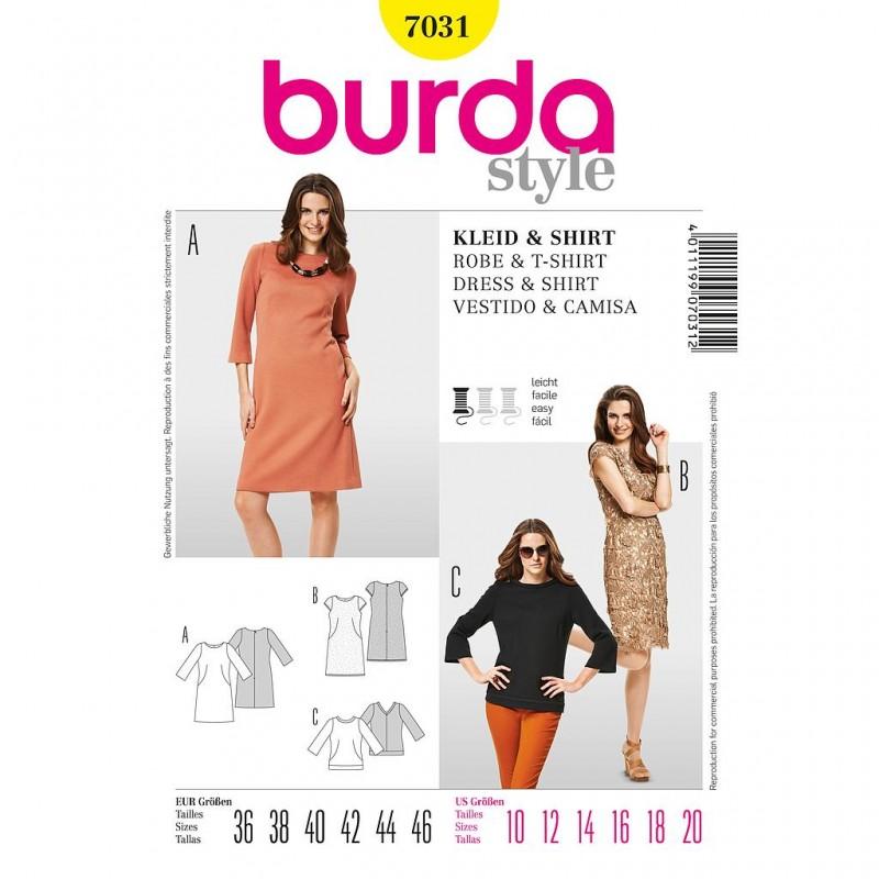 Patron Burda Style 7031 Robe et T-Shirt 36/46