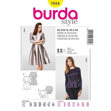 Patron Burda Style 7034 Robe et Blouse 34/44