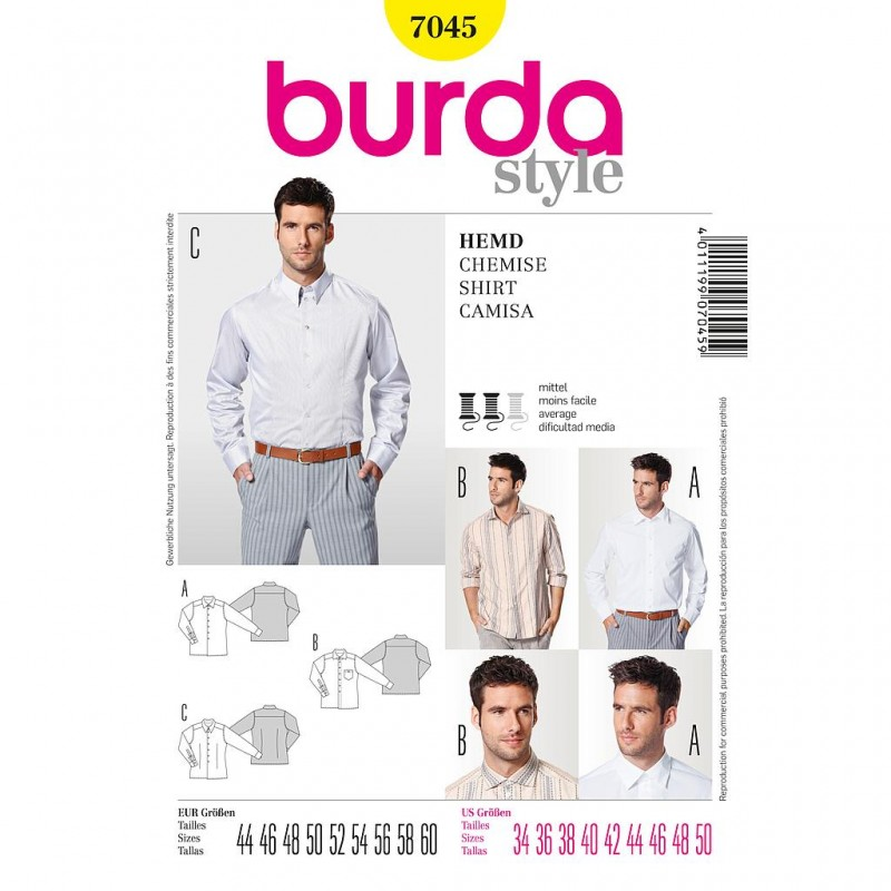 Patron Burda Style 7045 Chemise Homme 44/60