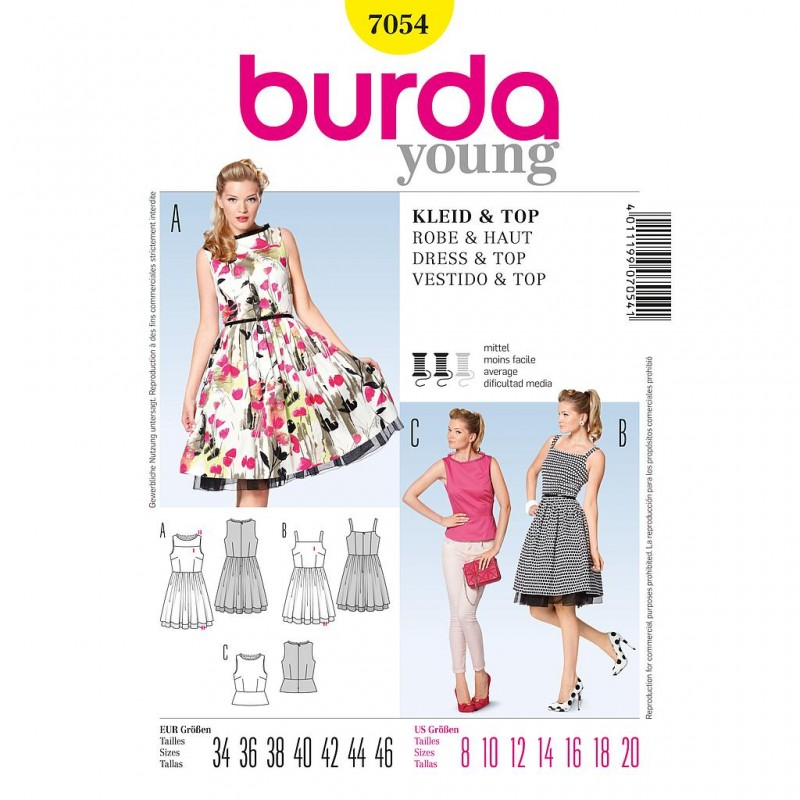 Patron Burda Style 7054 Robe et Débardeur 34/46