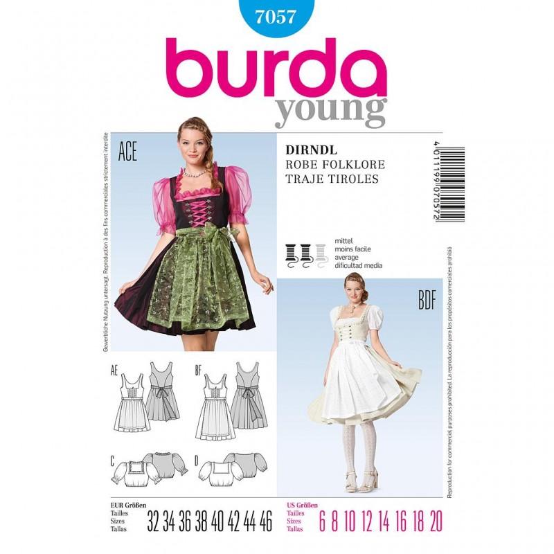 Patron Burda Style 7057 Robe Folklore 32/46