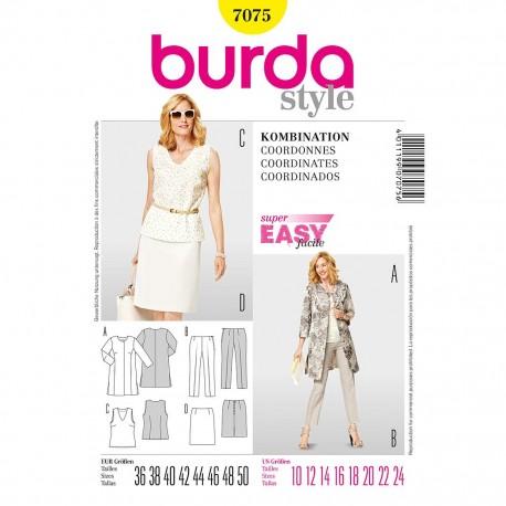 Patron Burda Style 7075 Ensemble Dames 36/50