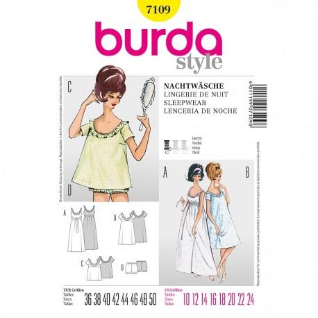 Patron Burda Style 7109 Lingerie de Nuit 36/50