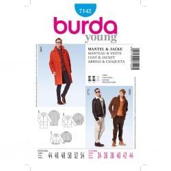 Patron Burda Style 7142 Manteau Veste Homme 44/54
