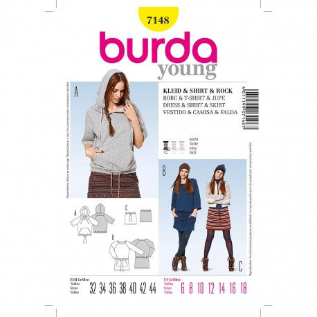 Patron Burda Style 7148 Shirt Jupe Robe Tunique 32/44
