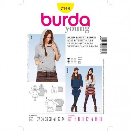 Patron Burda Style 7148 Shirt Jupe Robe Tunique 32/44