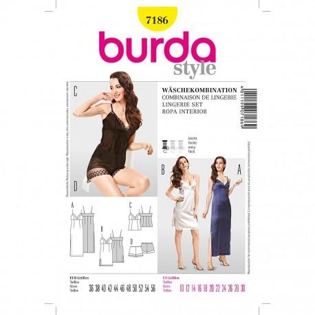 Patron Burda Style 7186 Combinaison de Lingerie 36/56
