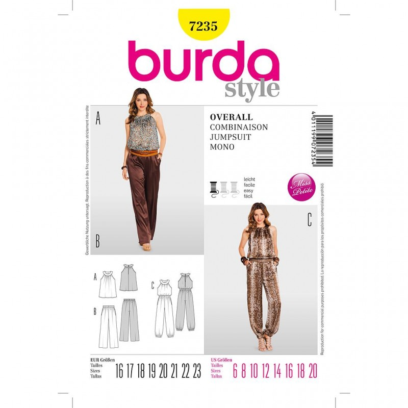 Patron Burda Style 7235 Young Combinaison 16/23