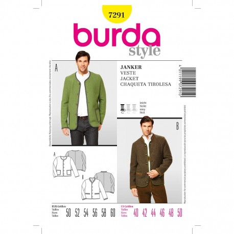 Patron Burda Style 7291 Veste à Boutons 50/60