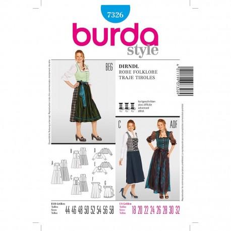 Patron Burda Style 7326 Robe Folklore 44/58