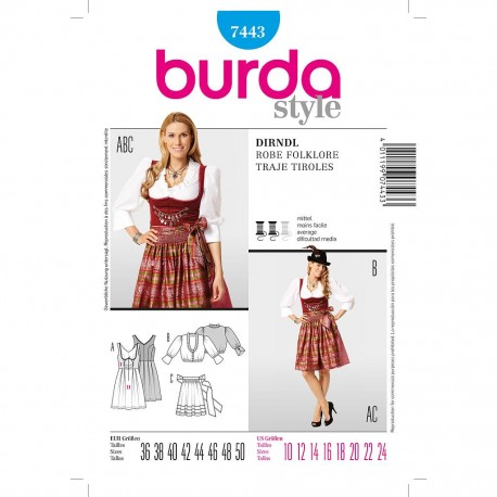Patron Burda Style 7443 Robe 36/50