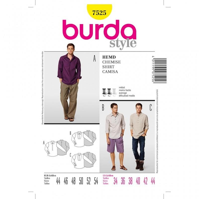 Patron Burda Style 7525 Chemise Homme 44/54