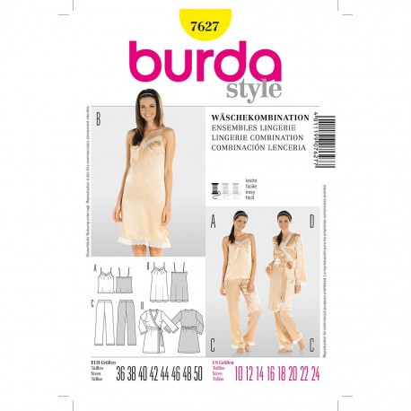 Patron Burda Style 7627 Combinaison Lingerie 36/50