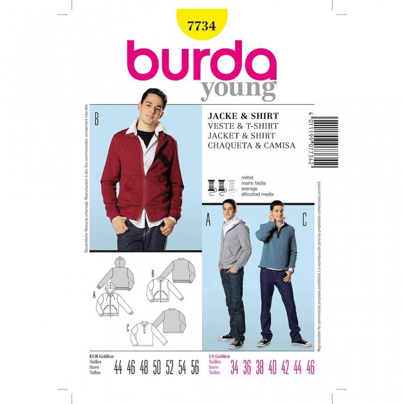 Patron Burda Style 7734 Veste Shirt 44/56
