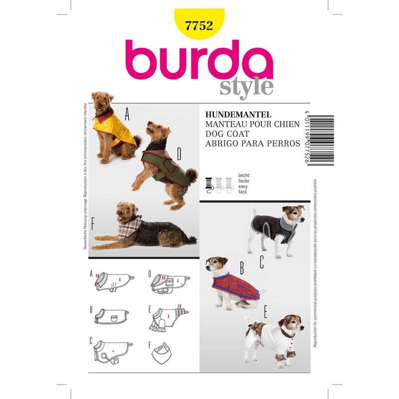 Patron Burda Créative 7752 Manteau pour Chien S/L