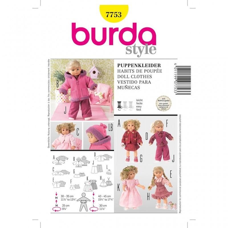Patron Burda Créative 7753 Vêtements de Poupée M/L