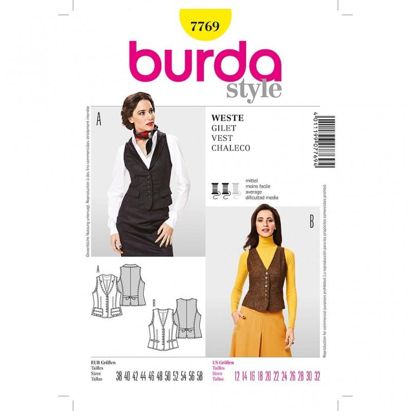 Patron Burda Style 7769 Style Gilet 38/58