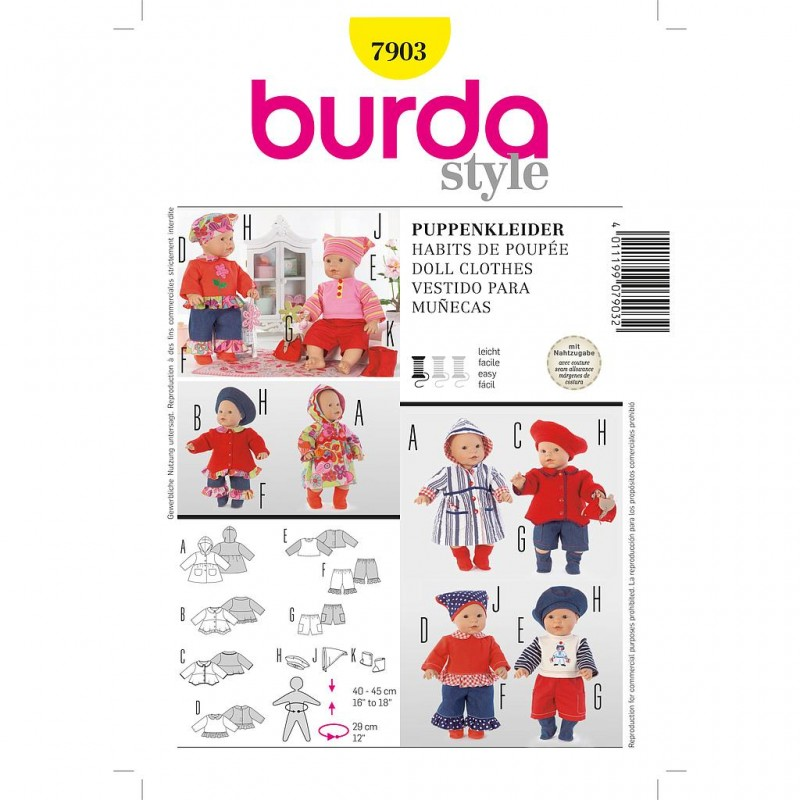 Patron Burda Créative 7903 Robes de Poupée 40/45CM