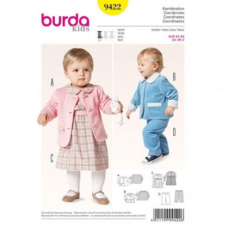 Patron Burda Kids 9422 Ensemble Bébé 62/92CM
