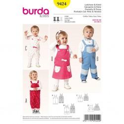 Patron Burda Kids 9424 Salopette et Robe 68/98CM
