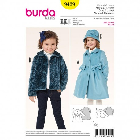 Patron Burda Kids 9429 Manteau et veste 92/128CM