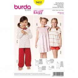 Patron Burda Kids 9432 Lingerie de Nuit 98/140CM