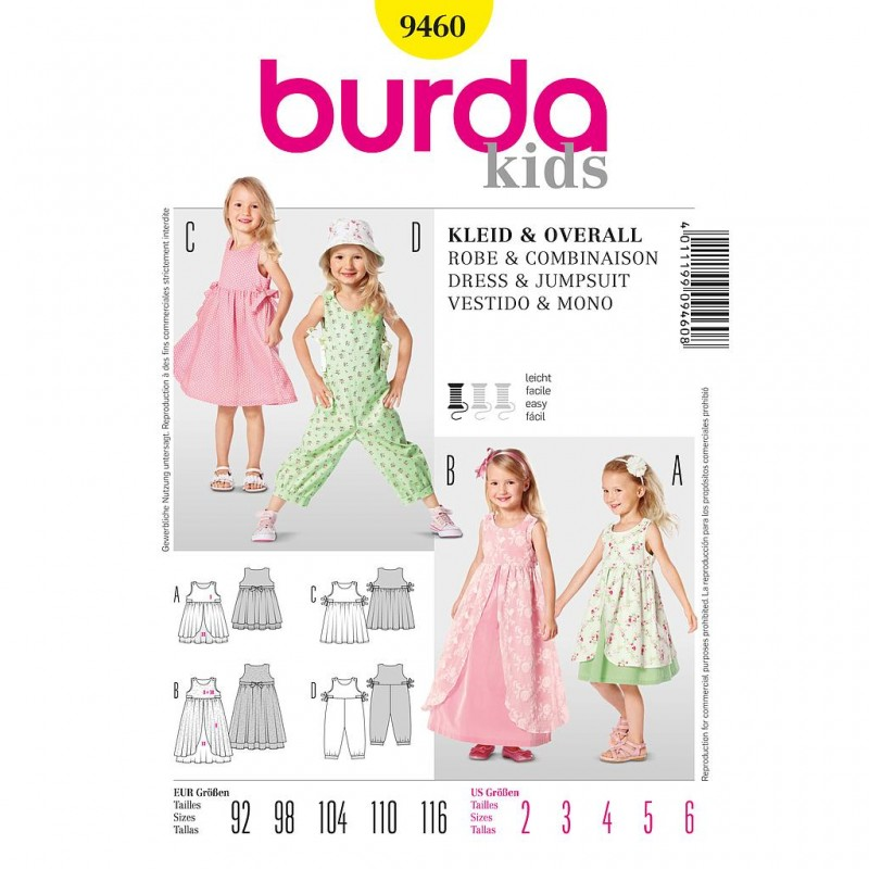 Patron Burda Kids 9460 Robe et Combinaison 92/116