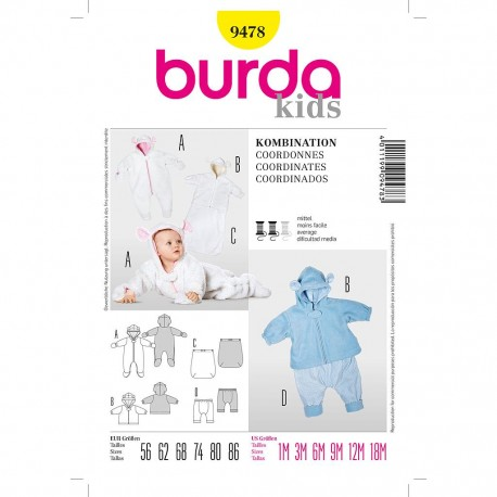 Patron Burda Kids 9478 Coordonnés 56/86