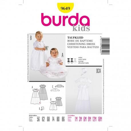 Patron Burda Kids 9649 Robe de Baptême 56/86