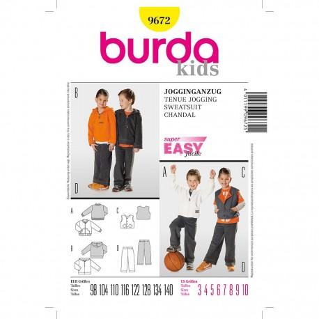 Patron Burda Kids 9672 Ensemble Jogging Filles et Garçon 104/164