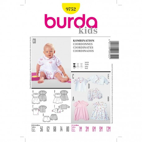 Patron Burda Kids 9752 Ensemble 56/80