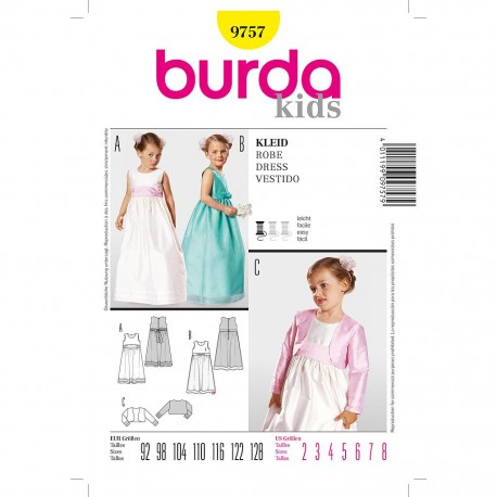 Patron Burda Kids 9757 Robe de Fête 92/128