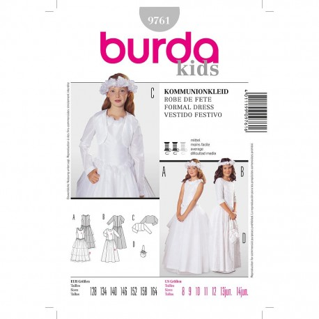 Patron Burda Style 9761 Robes de Communion 128/164