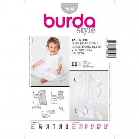 Patron Burda Kids 9804 Robe de Baptême 62/86